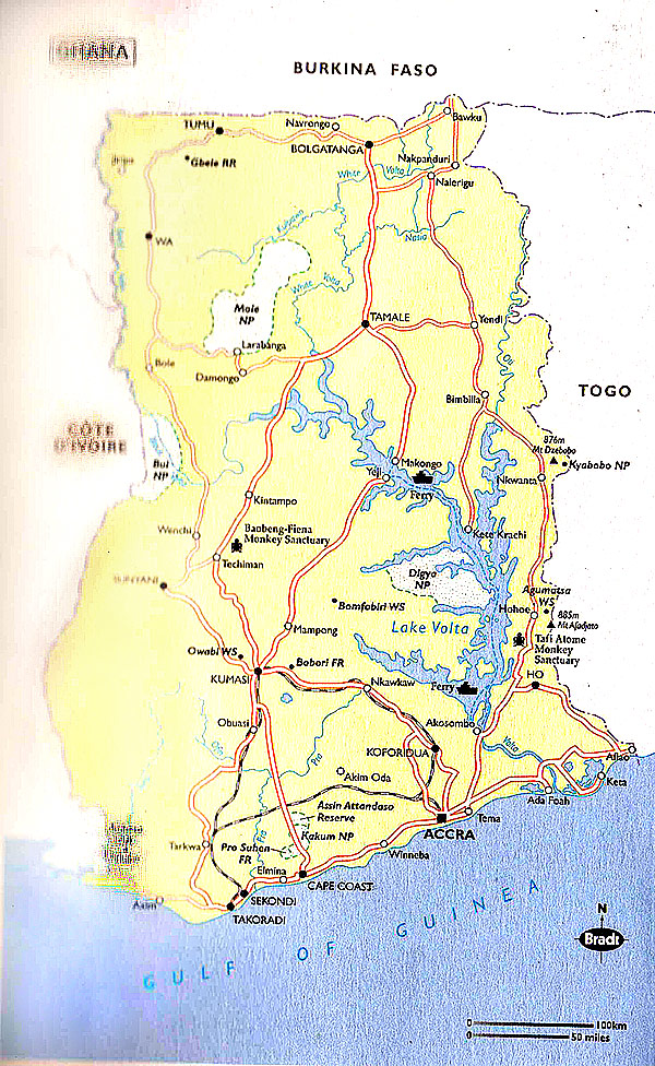 Map Of Ghana With Regions. Electronic map of Ghana